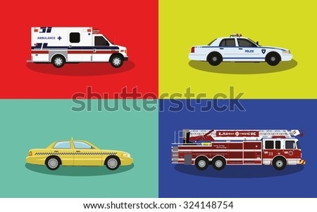 A set of service cars. Police, ambulance, fire truck, taxi. - stock vector