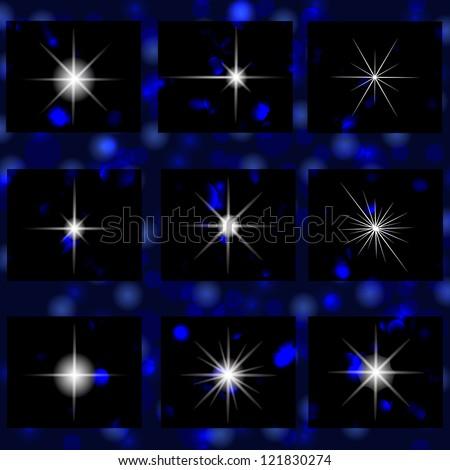 A set of shiny stars - stock vector