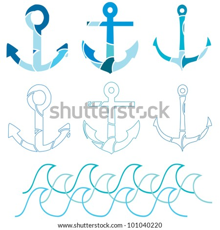 A set of Ship anchor icons with a section of waves - stock vector