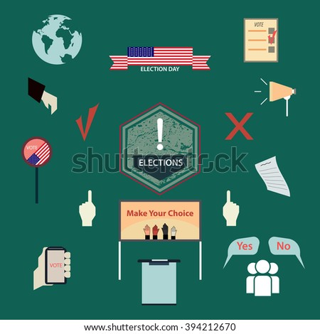 Set Signs Symbols Describing Election Vote Stock Vector 394212670