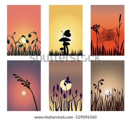 a set of silhouette landscapes with sunset or sunrise background showing field bugs, insects and beetles on flowers, grass and herbs; a vector illustration with hand drawn elements