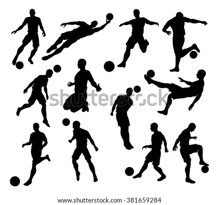 A set of Silhouette Soccer Players in lots of different poses - stock vector