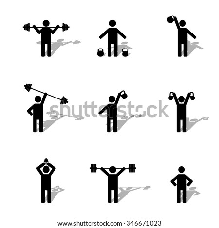A set of silhouettes athlete performs exercises with shadow, part first, vector illustration.