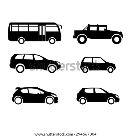 A set of silhouettes of different vehicles. Black silhouettes  automobile. - stock vector