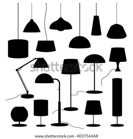 A set of silhouettes of household lamps and floor lamps Vector