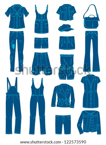 A set of silhouettes of jeans wear - stock vector