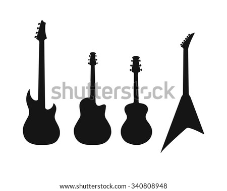 A set of silhouettes of various guitars. Bass, electric guitar, acoustic - stock vector