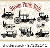 A set of silhouettes of vintage cars in the style of steam-punk - stock vector