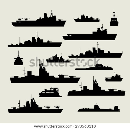 A set of silhouettes of warships for design and creativity - stock vector