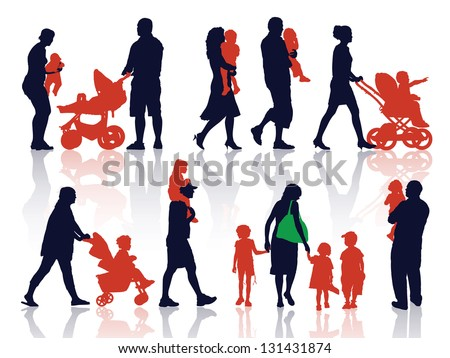 A set of silhouettes, parents and children on a walk. - stock vector