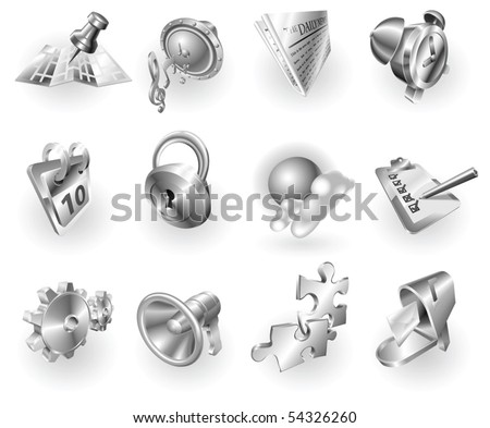 A set of silver steel or aluminium shiny glossy metal metallic internet application icon set series. - stock vector