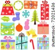 A set of simple and cute vector Icons : Gift Boxes (present), Christmas theme, pastel color isolated on white - stock photo