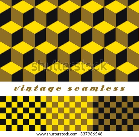 A set of simple cubic and check-board seamless tiles, coordinated patterns in an optical illusion style gold tone palette. - stock vector