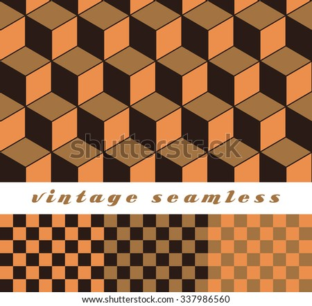 A set of simple cubic and check-board seamless tiles, coordinated patterns in an optical illusion style earth tone palette. - stock vector