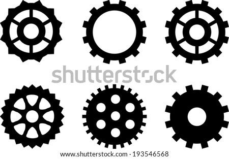 A set of simple gears for steampunk design - stock vector