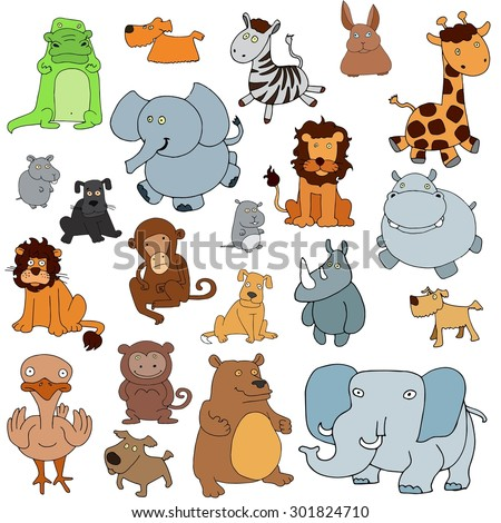 A set of simple hand-drawn animals. - stock vector