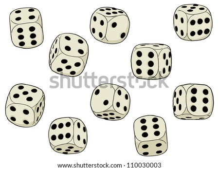 A set of simple vector dices on a white background