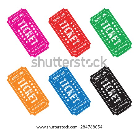 a set of six colourful tickets - stock vector