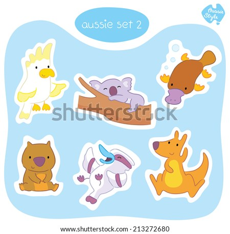 A set of six cute Australian animals in various poses, including wombat, platypus, cockatoo, koala, kangaroo and kookaburra. - stock vector