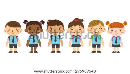 A set of six cute cartoon diverse children wearing school uniform with backpacks. Different skintones, hairstyles and facial expressions. - stock vector