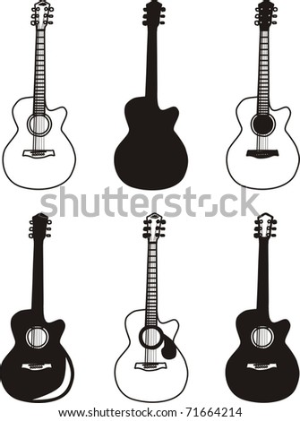 A set of six guitars - stock vector