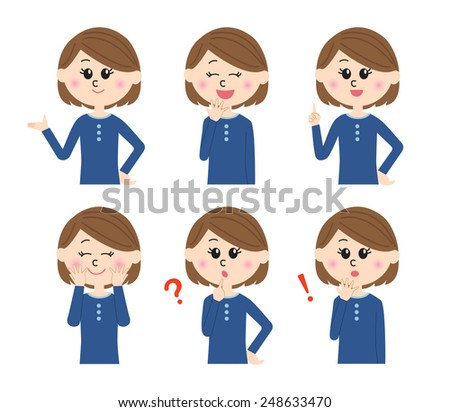 A set of six pose variations of happy young woman, vector illustration - stock vector