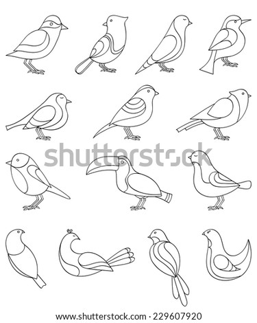 A set of sketches of birds. Vector illustration. - stock vector