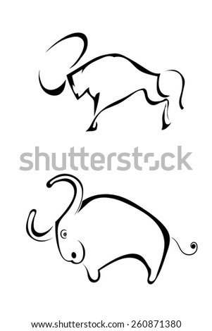 A set of sketches two bull silhouette profile. Isolated. Vector illustration. - stock vector
