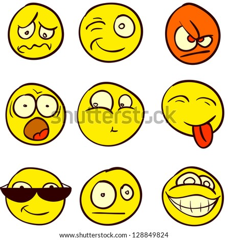 A set of 9 smileys for every taste. Done in comic doodle style. - stock vector
