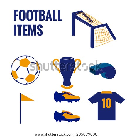 a set of soccer items on a white background - stock vector