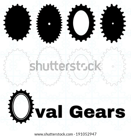 A set of solid and outline oval or elliptical gears