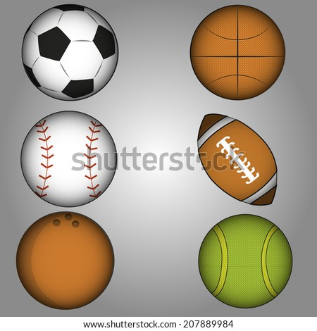 a set of sports ball in a grey background
