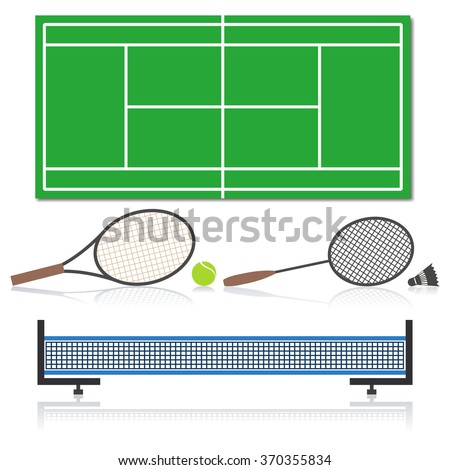 A set of sports equipment for tennis, vector illustration.