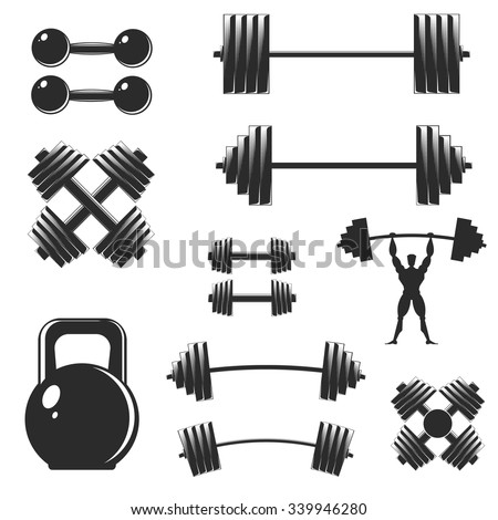 A set of sports equipment, isolated on white. Barbells, dumbbells, weight lifter silhouette. Design elements for the gym and fitness. - stock vector