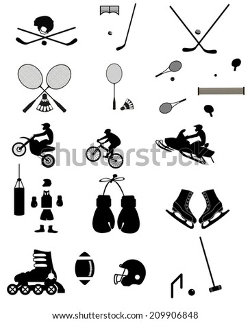 A set of sports icons arranged in a simple silhouette style - stock vector