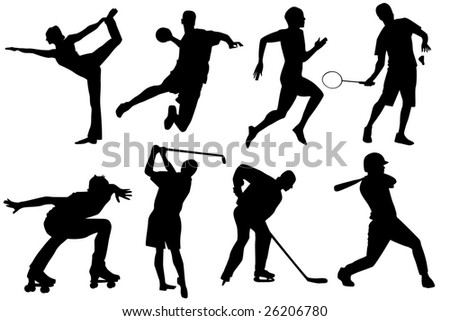 a set of sports silhouetttes - stock vector