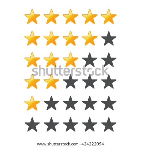 A set of stars for a rating on a white background.Yellow Stars . - stock vector