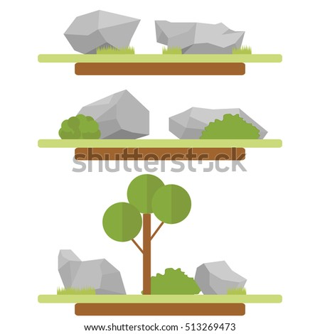 A set of stones and grass, a symbol of the stone, the stone icon, vector stone, realistic stone, illustration of the stone, the stone image, gray stone, a large stone, small stones. Flat design.