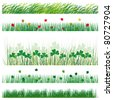 A set of strips of grass and leaves. Vector illustration - stock vector