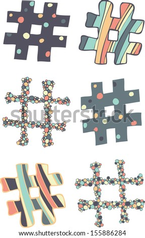A set of stylishly designed hash symbols. - stock vector