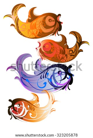 A set of stylized ornamental tropical fish - stock vector