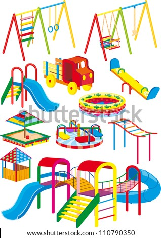 A set of swings, slides and rides for the children's playground in the projection - stock vector