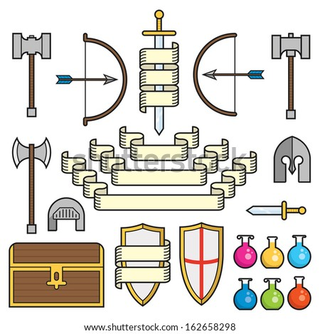 A set of symbols of classic elements found in fantasy and medieval settings, along with scrolls and banners. This is an Ai 10 file that does not contain transparencies, gradients, or blends.  - stock vector