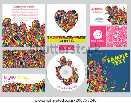 A set of templates corporate identity. Vector design elements with the waves, notes, music, headphones. Can be used in computer design, web pages and templates, banners. - stock vector