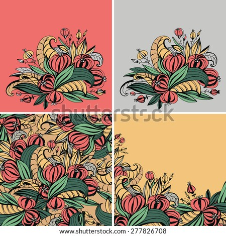 A set of templates for greeting cards, invitations, posters, brochures or banners. Hand-drawing color fancy flowers with leaves. - stock vector
