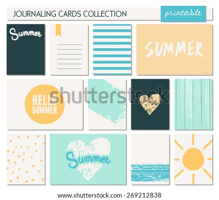 "A set of 12 templates for greeting/journaling cards for the summer season. Sunny yellow, blue, black and white color palette. Vertical cards are scalable to a 3x4"", horizontal cards to a 6x4"" size. - stock vector"