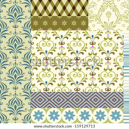 A set of textile / wallpaper seamless patterns.