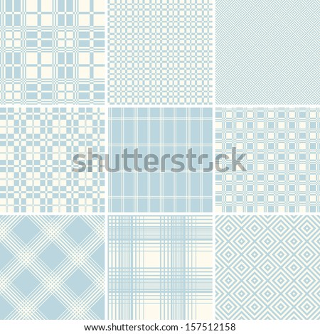 A set of textile / wallpaper seamless patterns. Two colour used only. - stock vector