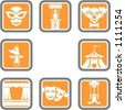 A set of 8 theatre vector icons. - stock photo
