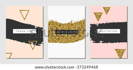 A set of three abstract brush stroke designs in black, white, pink and gold glitter texture. Invitation, greeting card, poster design templates. - stock vector